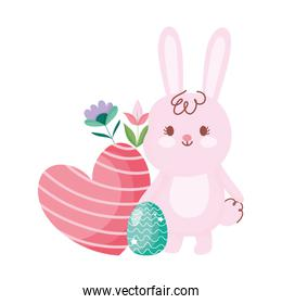 happy easter cute bunny with egg heart and flowers decoration