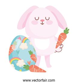 happy easter pink rabbit with carrots and painted egg rainbow decoration