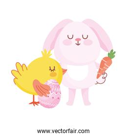 happy easter pink bunny chicken with egg carrot cartoon