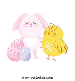 happy easter pink rabbit chicken eggs decoration