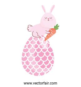happy easter rabbit with carrot in big egg decoration