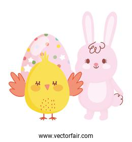 happy easter chicken and rabbit with dotted egg decoration