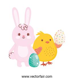 happy easter cute bunny chicken with eggs decoration season