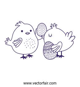 happy easter day, cute chickens with eggs decoration party