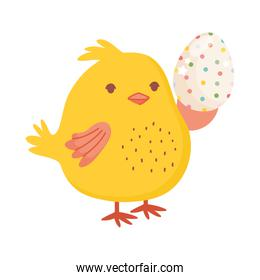 happy easter, cute chicken holding dotted egg decoration