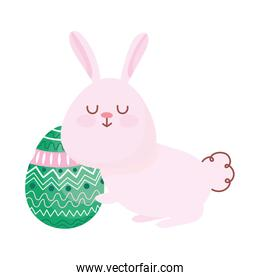 happy easter, cute rabbit with egg decoration ornament