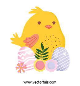 happy easter little chicken eggs and flowers decoration rainbow