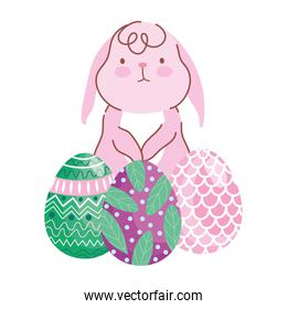 happy easter little bunny with decorative eggs painting