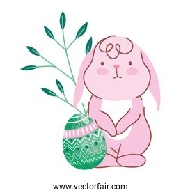 happy easter little bunny with decorative eggs nature leaves