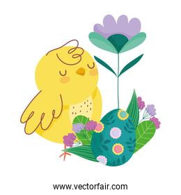 happy easter cute chicken with egg decorated with flowers leaves