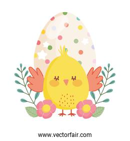happy easter little chicken dotted egg flowers decoration cartoon