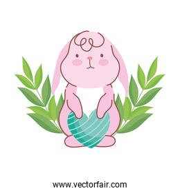 happy easter cute rabbit with striped heart love decoration