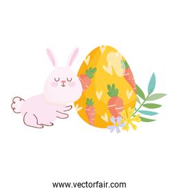 happy easter bunny egg painting with carrots flowers nature
