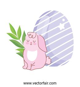 happy easter pink rabbit sitting with egg branch decoration