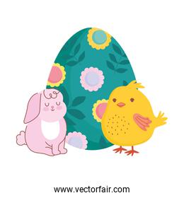 happy easter cute rabbit and chicken with painted egg decoration with flowers
