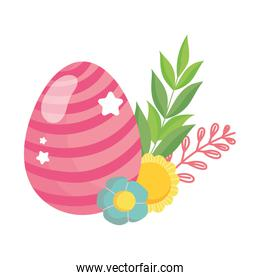happy easter striped pink egg flowers foliage decoration