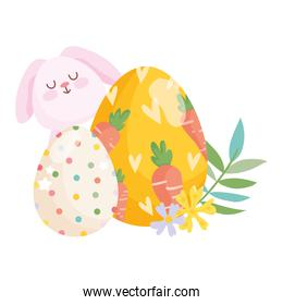 happy easter bunny egg painted with carrots and dotted egg flowers decoration