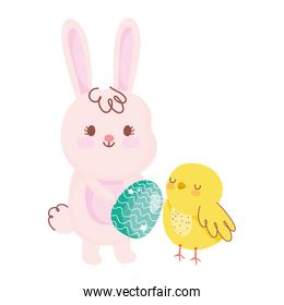 happy easter rabbit with egg chicken rainbow field flowers