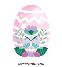 happy easter pink egg decoration and flowers foliage
