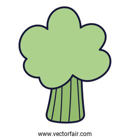 fresh broccoli vegetable food cartoon icon style design