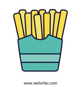 french fries in box fast food icon style design