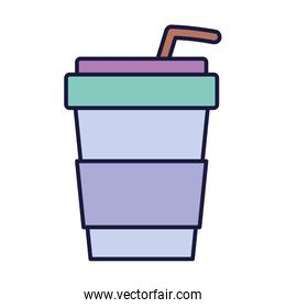 disposable cup with straw drink cartoon icon style design
