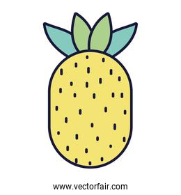 pineapple tropical fresh fruit food cartoon icon style design