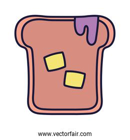 slice bread with jam and butter cartoon icon style design