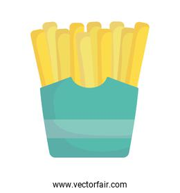 french fries in box fast food cartoon icon style design