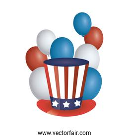 president day hat with usa flag and balloons helium