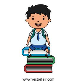 cute little student boy seated in books character
