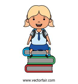 cute little student blond girl seated in books