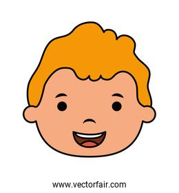 cute little blond boy head comic character