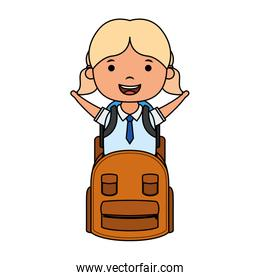 cute little student blond girl with schoolbag character