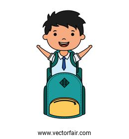 cute little student boy with schoolbag character