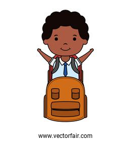cute little student afro boy with schoolbag character