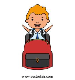 cute blond student boy with schoolbag character