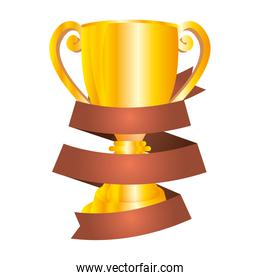 trophy cup award with ribbon frame