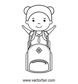 cute little student girl with schoolbag character
