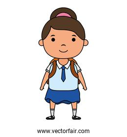 cute little student girl character