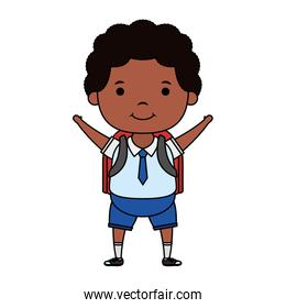 cute afro student boy character