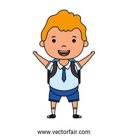 cute little blond student boy character