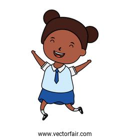 cute little afro student girl character