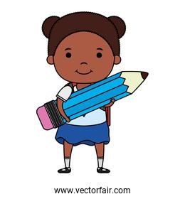 cute little student afro girl with pencil character