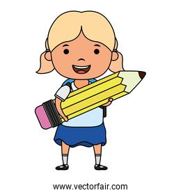cute little student blond girl with pencil character