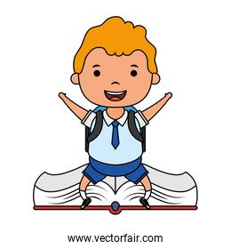 cute blond student boy seated in book character