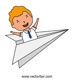cute blond student boy in paper airplane