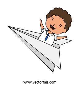 cute little student boy in paper airplane