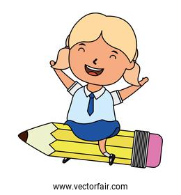 cute little student blond girl seated in pencil character