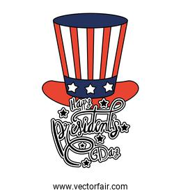 president day hat with usa flag and lettering